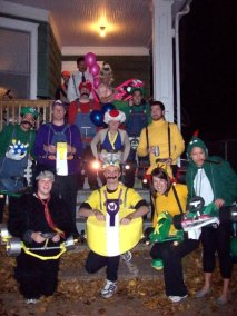 Mario Kart (with balloons, bananas and shells to go with our PVC pipe carts)