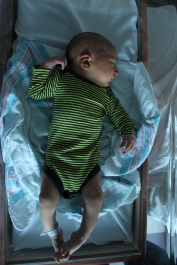 Getting dressed to go home from the hospital
